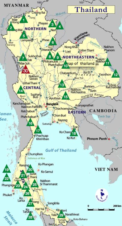mapa parques tailandia